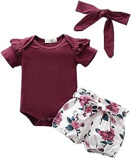 YEBIRAL Babykleidung Set Baby Mädchen Kleidung Kurzarm Body Strampler  Hose  Stirnband Neugeborene Kleinkinder Baumwolle Outfits Set 3 Stück