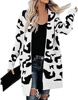 Women Soft Leopard Print Long Sleeve Loose Knit Sweater Cardigan Coat Outwear