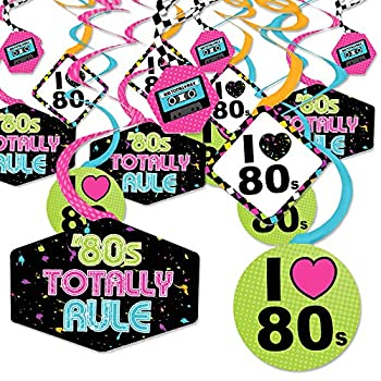 80 s Retro - Totally 1980s Party Hanging Decor - Party Decoration Swirls - Set of 40