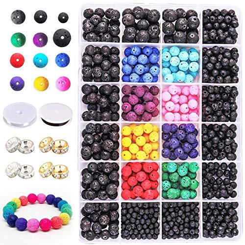 RENSHENKTO Kit de cuentas de lava negro roca piedra perlas conjunto para joyería suministros de cristal de color 1142pcs