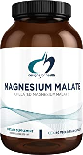 Designs for Health Magnesium Malate - 360mg Chelated Magnesium Supplement - Highly Bioavailable Mag to Support Energy + Mu...