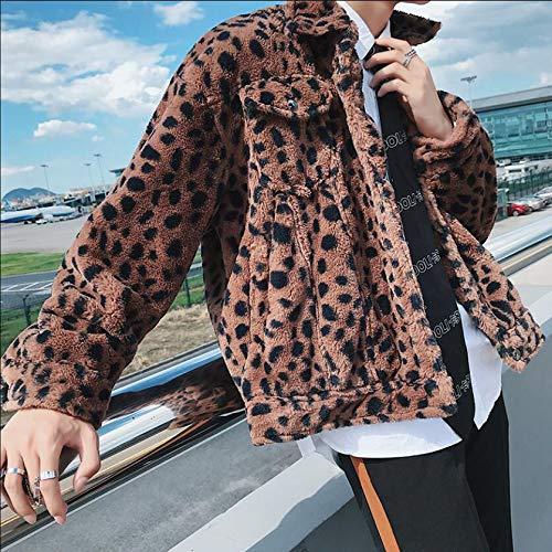 GUOJK Chaqueta de Cuero de los Hombres Chaqueta De Leopardo De Invierno M-2Xl Sección Corta para Hombres De La Chaqueta De Felpa De Algodón De Felpa Pareja Ropa De Leopardo
