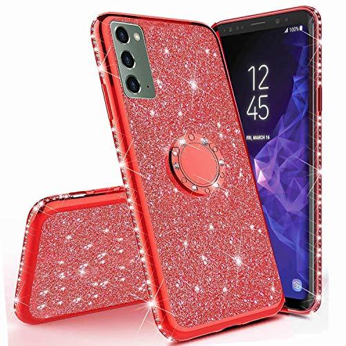 Miagon Hülle Glitzer für Samsung Galaxy Note 20,Glänzend Mädchen Frauen Weich Silikon Handyhülle mit Strass Diamant 360 Grad Ständer Schutzhülle Etui Cover