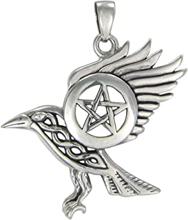 Sterling Silver Flying Raven Pentacle Pendant