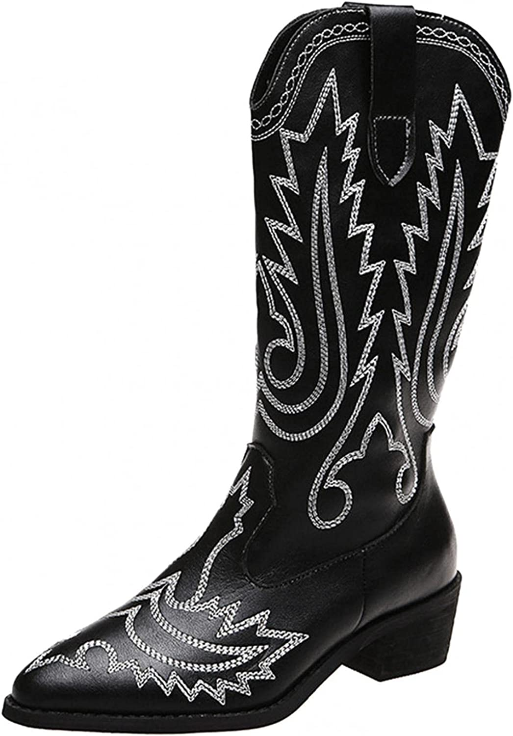 Gibobby Western Boots for Women Cowboy Riding Horse Boots Chunky Heel Mid Calf Boot Pointed Toe Embroidered Casual Boots