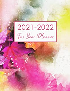 2021-2022 Two Year Planner: Watecolor Flower 24 Months Agenda See It Bigger Planner 2 Year Daily Weekly Monthly Calendar
