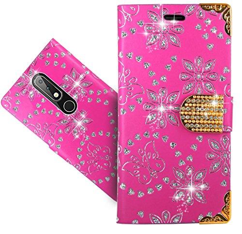 Nokia 6.1 Plus (2018) / Nokia X6 Handy Tasche, FoneExpert® Wallet Hülle Cover Bling Diamond Hüllen Etui Hülle Ledertasche Lederhülle Schutzhülle Für Nokia 6.1 Plus (2018) / Nokia X6