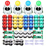 EG Starts 4 Player Classic DIY Arcade Joystick Kit Parts USB Encoder To PC Controls Games + 4/8 Way Stick + 5V led...