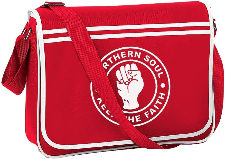 NORTHERN SOUL KEEP THE FAITH Fist Icon Mens retro messenger bag