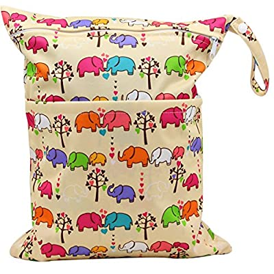 MSsmart (TM) Waterproof PUL Durable Designer Baby Cloth Diaper Laundry Wet and Dry Bags Multipurpose Storage Organizer Bag¡­