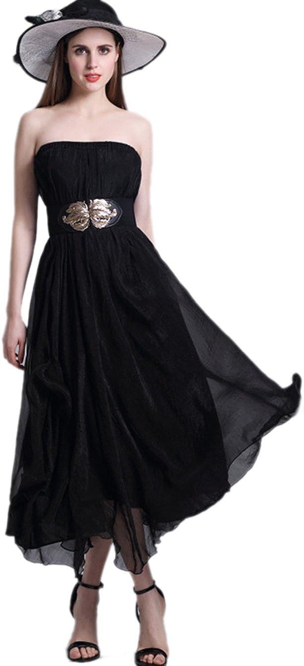 URVIP Women's Bohemian Pleated Vintage Maxi Summer Skirt Party Long Chiffon Skirt