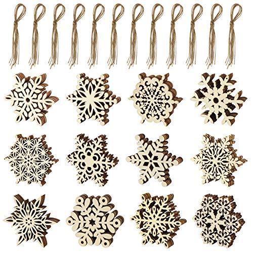 K KUMEED 60 Stück Weihnachtsdeko Holz Schneeflocken, Schneeflocke Baumschmuck Holz, Weihnachten Anhänger, Weihnachten Dekoration Holz mit Jute Schnur für Baumschmuck, Weihnachtsdeko, Basteln