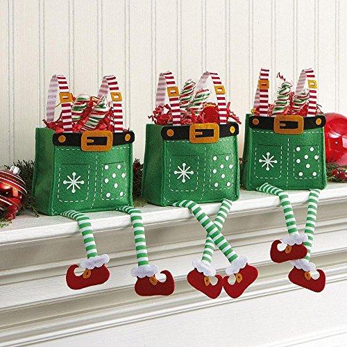 Elf Pants Christmas Treat Bags, Set of 6 Gift Bags.