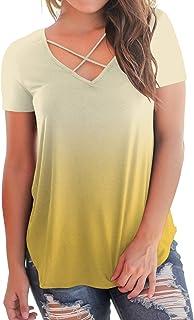 f1e791ff9a NIASHOT Women s Casual Short Sleeve Solid Criss Cross Front V-Neck T-Shirt  Tops