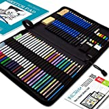 Drawing Watercolor Pencils Art Supplies  53 Coloring and Sketching Art Set  Each Art Supply Includes Bonus Sketch Book and Digital Library Drawing Tutorials - Pencil Pouch, Graphite Charcoal, Eraser