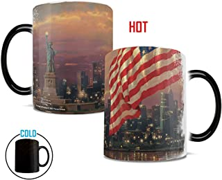 Morphing Mugs Thomas Kinkade Light of Freedom (New York USA) Heat Reveal Ceramic Coffee Mug - 11 Ounces