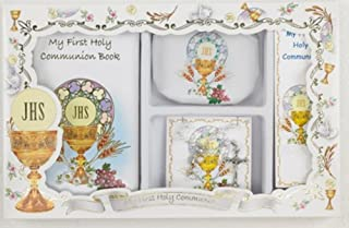 First Communion Gift Set with Prayer Mass Book, Rosary, and Bookmark