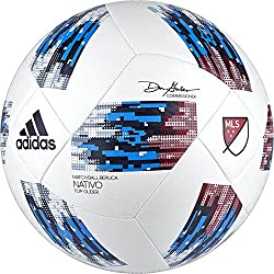 White red and blue Adidas MLS soccer ball