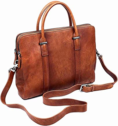 Genuine Leather Briefcase Laptop Bag,Business Office Bag for Men Women, Multi-Functional