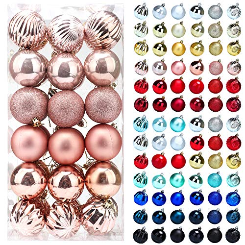 Christmas Balls Ornaments for Xmas Tree, 36ct Plastic Shatterproof Baubles Colored and Glitter Christmas Party Decoration 2.4inch Set (Rose Gold, 2.4 inch)