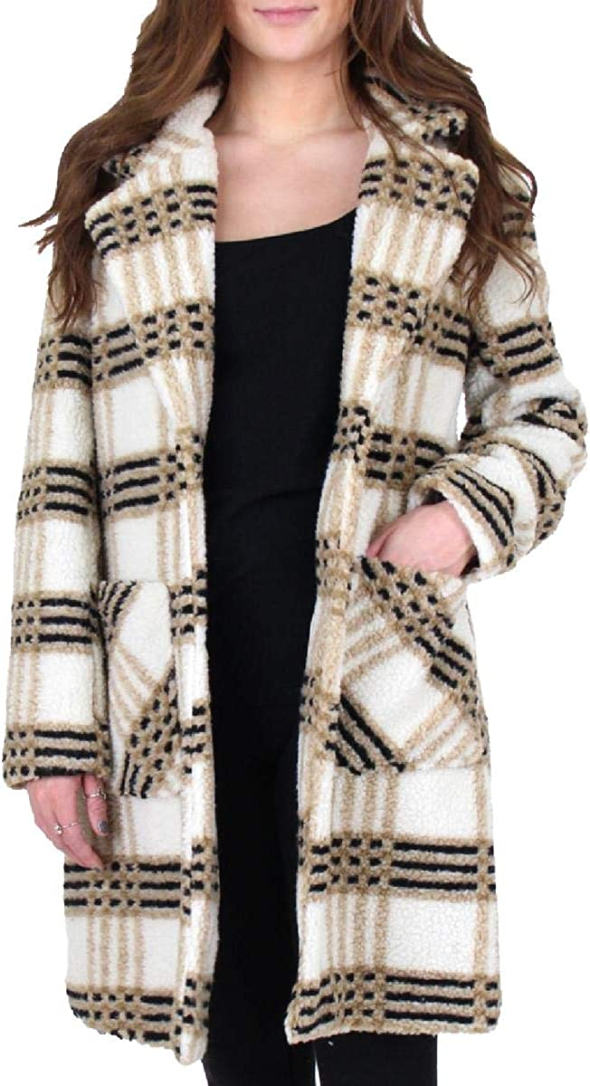 French Connection Women's Notch Collar Plaid Print Faux Fur Coat White Size L