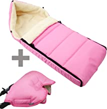 BAMBINIWELT KOMBI-ANGEBOT Muff  Winterfußsack 108cm - aus Lammwolle für Kinderwagen, Buggy, Radanhänger - WOLLE - LINIERT rosa