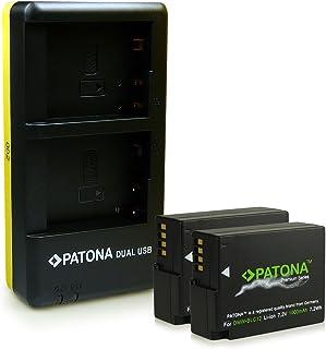PATONA Cargador Doble + 2X Premium Batería DMW-BLC12 Compatible con Panasonic Lumix DMC-FZ200 DMC-FZ1000 DMC-G5 DMC-G6