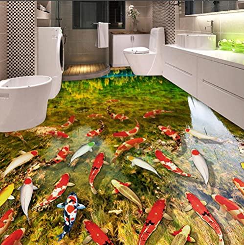 Murales de suelo 3D autoadhesivos a prueba de agua lago agua carpas baño dormitorio suelo pegatina PVC vinilo papel tapiz decoración del hogar-250 * 175cm