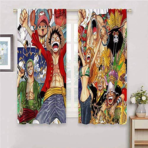 Panel de cortina de una pieza de diseño de anime japonés de una pieza con bolsillo para barra de guardería, con aislamiento térmico, paneles cortos para decoración del hogar de 163 x 182 cm
