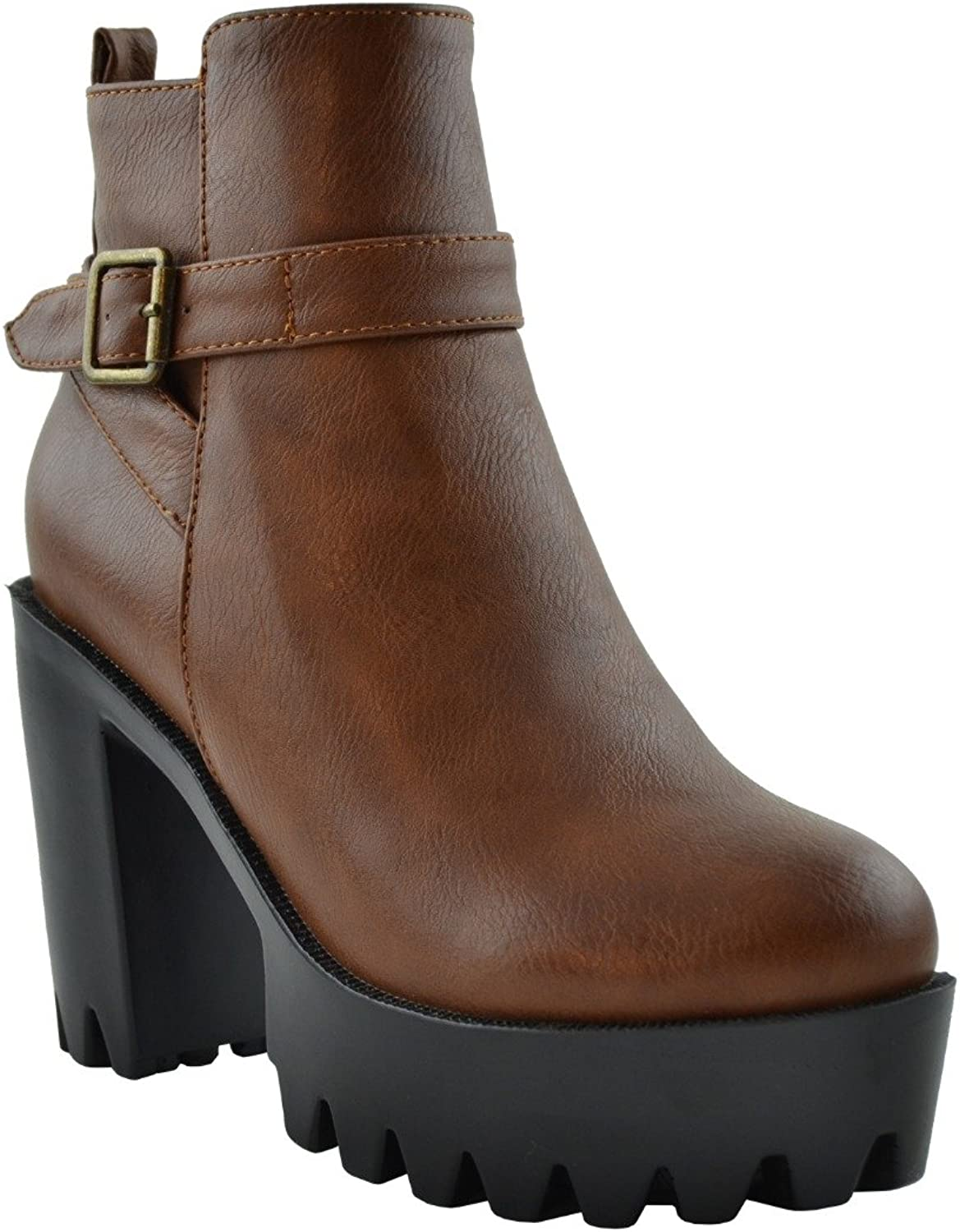 Generation Y Women's Ankle Boots Lug Sole Chunky Heel Buckle Casual Booties