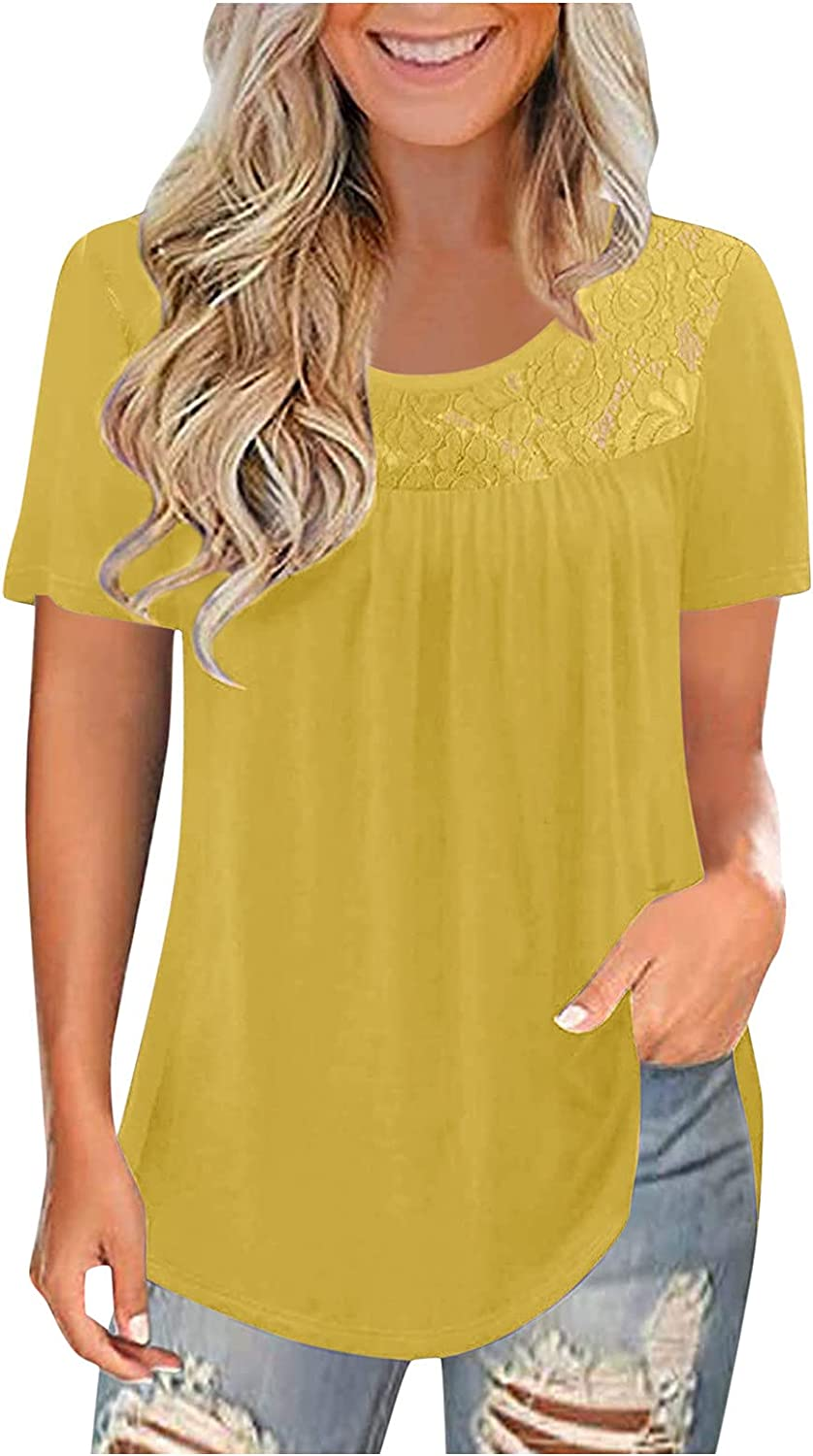AODONG Short Sleeve Tops for Women, Women's Plus Size Summer Tops Lace Pleated Shirts Casual Loose Blouses Tops Tunics