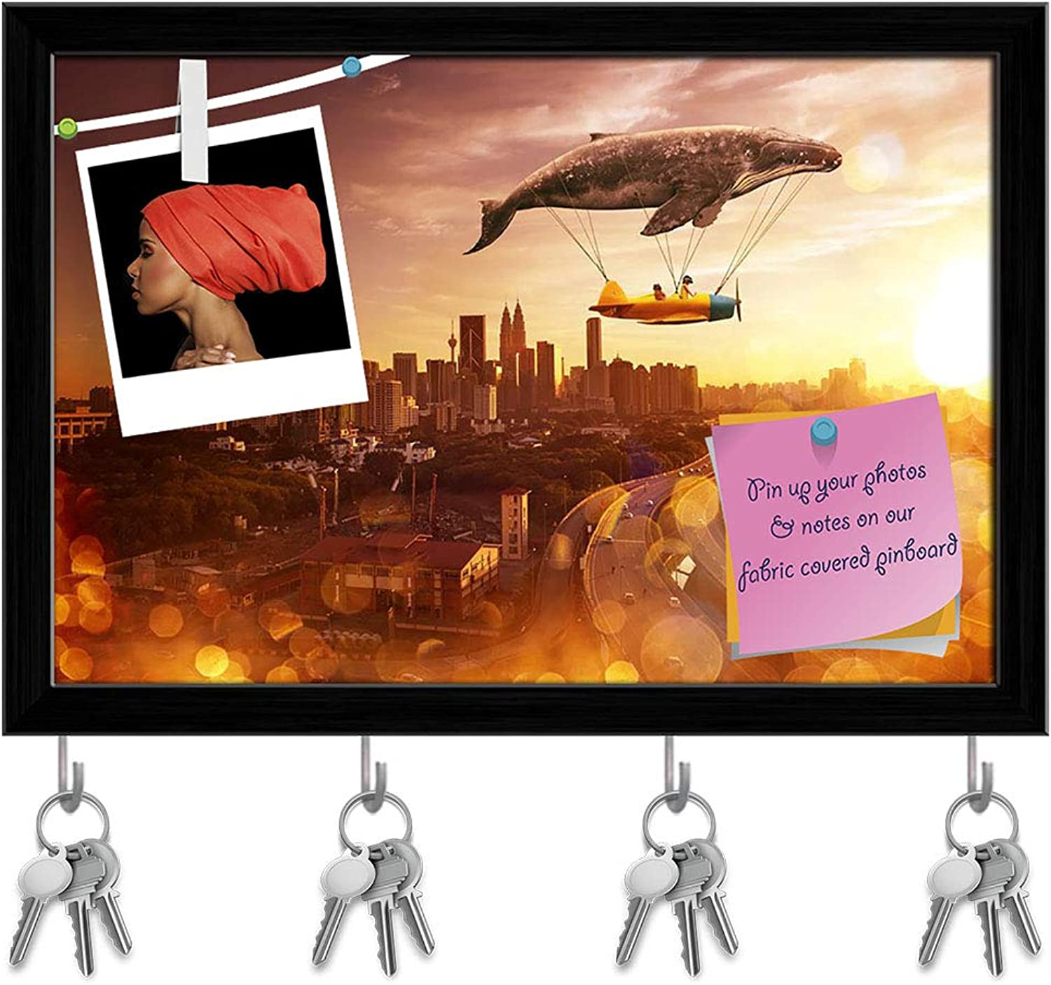 Artzfolio I Believe I Can Fly Key Holder Hooks   Notice Pin Board   Black Frame 8.5 X 6Inch