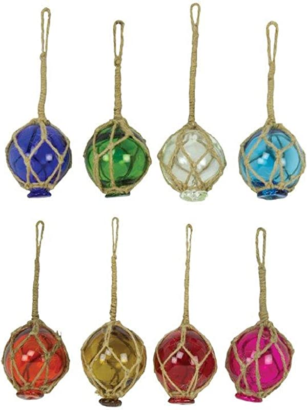 Set Of 8 2 Glass Fishing Buoys 8 Assorted Colors Roped Net Floats Buoy