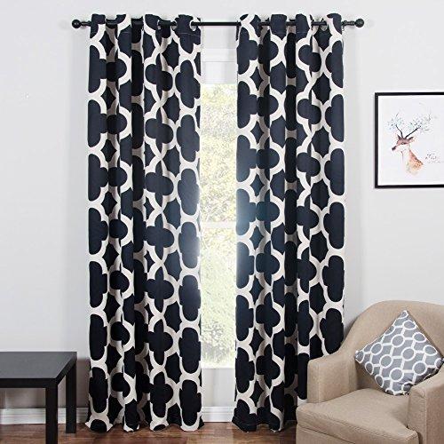 Topfinel Blackout Vorhang mit Ösen Wärmeisoliert Verdunklungsvorhänge mit Bedruckten Mustern für Wohnzimmer Schlafzimmer 2er Set je 245x140cm (HxB) Beige und Schwarz