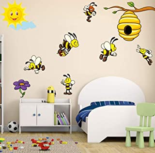 ONZFLXM Bees Kingdom The Sun Decals Beehive Tree Branch Wall Removable Sticker for Boy & Girls Funny Baby Room Nursery Home Decoration