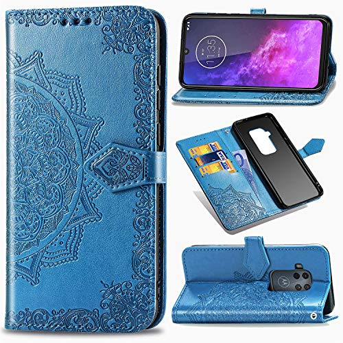 ZYZXMTL Motorola Moto One Zoom Embossed Mandala Wallet Case,PU Leather Flip Phone Shell, with Credit Cards Slot and Stand Shockproof Magnetic Protective Cover for Motorola Moto One Pro Blue