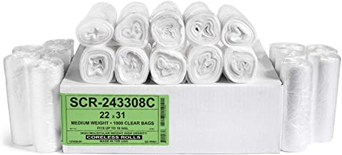 Aluf Plastics  6 Micron Gauge ,SRC-243306C 22X31 regular weight 1000 clear bags fits up to 16 Gal