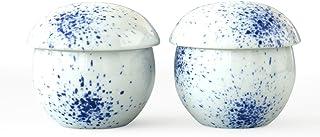 Cinf Japanese Chawanmushi Lidded Bowl Cuisine Ceramic Serving Soup 6 oz. Bowls Set of 2 with Lid,Mushi Custard Bowl Cup fo...