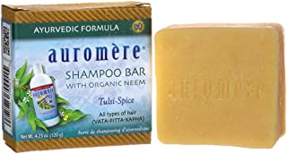 Ayurvedic Shampoo Bar by Auromere - Can be Used for Both Face & Body - All Natural Unique Formula for Natural Cleansing, Nourishing and Rejuvenating Properties for the Hair and Scalp - 4.23 oz