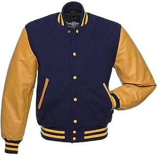 blue and orange letterman jacket