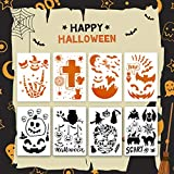 LANMOK 8 piezas Plantillas de Dibujos Halloween Plantilla de Pintura Calabaza Bruja Calavera Araña...