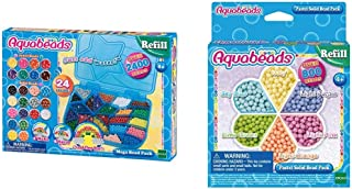 Aquabeads - Loisirs créatifs - Méga Pack 2400 Perles, 7963 & Recharge Perles Pastel Activitée créative, 31360, Multicolore...