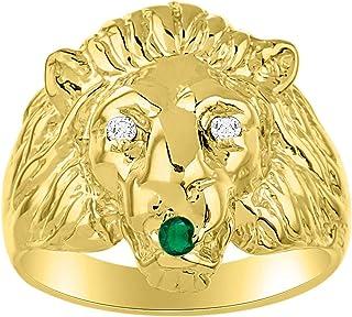 RYLOS 14K Yellow Gold Ring Lion Head Ring with Genuine Diamonds & Precious Stones All Diamond, Emerald, Ruby Or Sapphire