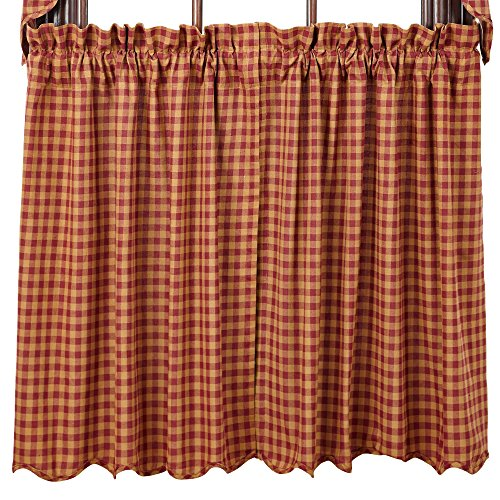 VHC Brands Burgundy Check Scalloped Tier Set of 2 L36xW36 Country Curtains, Burgundy and Tan