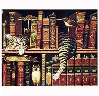 300ピース木製ジグソーパズル 本棚で眠っている猫大人子供のゲームおもちゃのストレスリリーフパズル