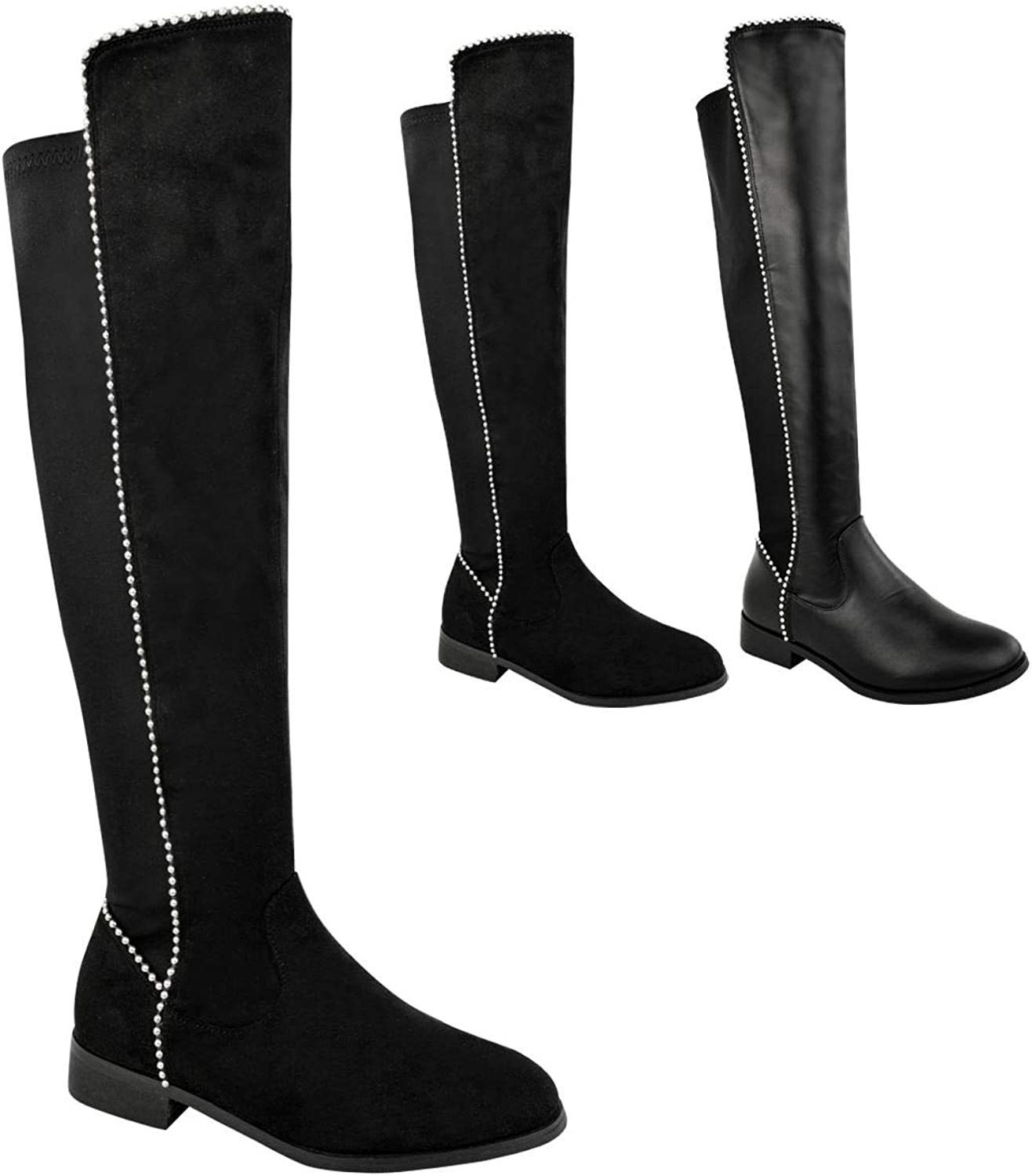 Fashion Thirsty Womens Flat Low Heel Studded Stretch Boots Over Knee Thigh Wide Leg Lycra Black