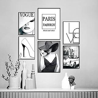 SEVEN WALL ARTS - Lot de 6 affiches tendance en noir et blanc | 6 images comme décoration murale élégante | 2 x DIN A4 et ...