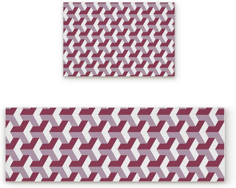 SODIKA Non Slip Kitchen Rug Set 2 Piece, Floor Mat Carpet Runner,Modern Geometric Rectangle Pattern - Red (15.7 x23.6 +15.7 x47.2  inches)