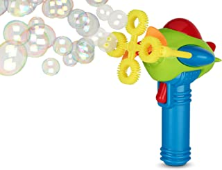 Bubble Gun Blower for Kids (Boys & Girls) - Non-Toxic | Dip&Press with Fan | Toy Blaster with Soap Solution | 4 Wands Ring Shooter | Fun, Indoor & Outdoor, Leak-Resistant, Parents & Toddlers