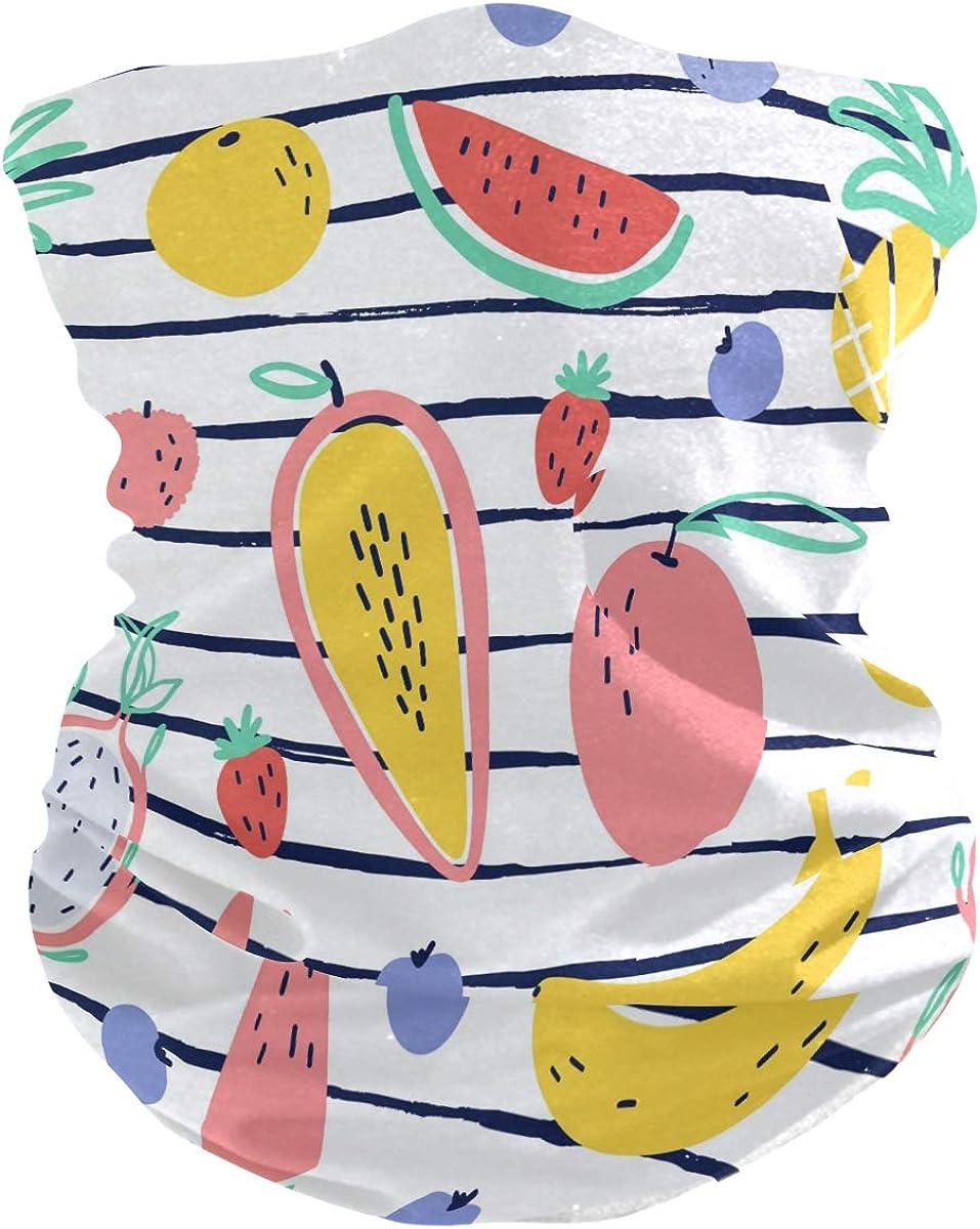 Face Scarf Bandana Neck Gaiter Tropical Fruit Headband Headwear for Cycling Fishing Hiking Camping